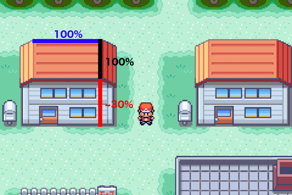 The top down oblique projection in pokemon fire red.